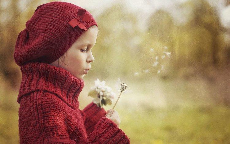 девочка, весна, одуванчики, girl, spring, dandelions