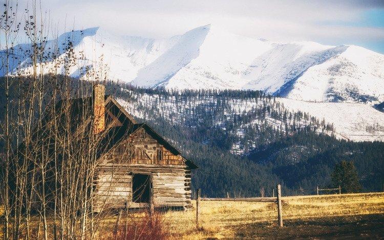 mountains, autumn, house