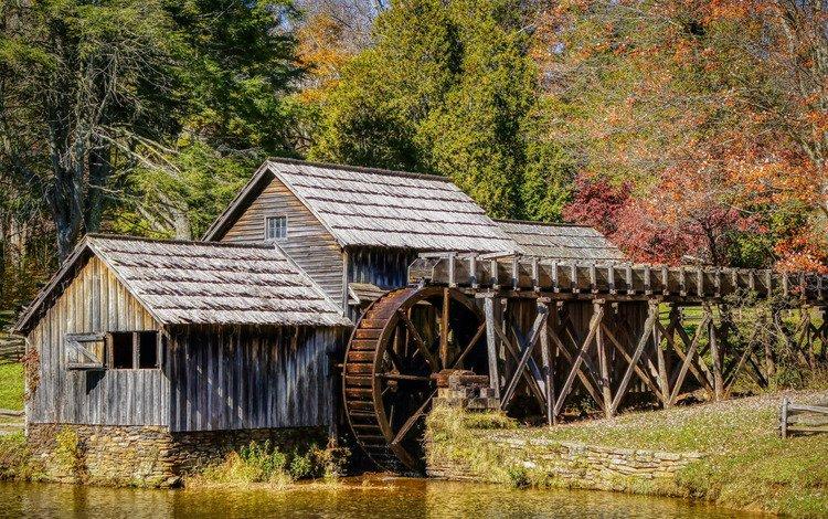 вода, природа, мельница, колесо, мабри милл, water, nature, mill, wheel, mabry mill