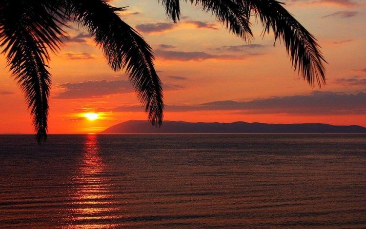 the sky, the sun, sunset, sea, palma