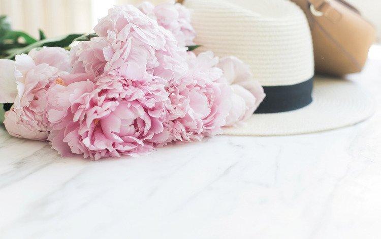 flowers, bouquet, marble, hat, bag, peonies, pink, tender