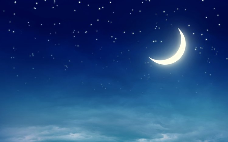 небо, звезды, месяц, the sky, stars, a month