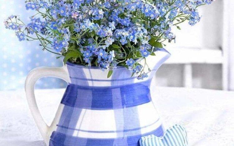 ваза, незабудки, сердечки, натюрморт, vase, forget-me-nots, hearts, still life