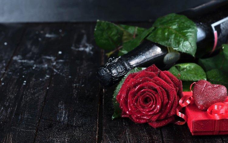 цветы, роза, лепестки, сердце, шампанское, flowers, rose, petals, heart, champagne