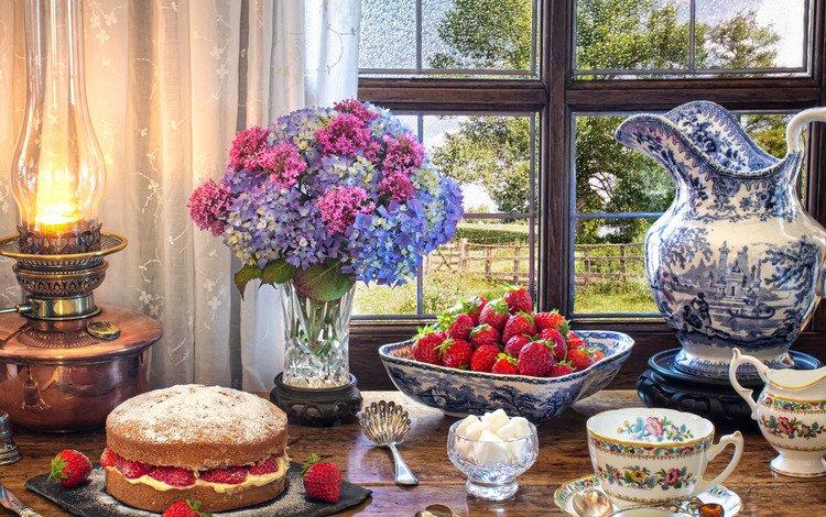 цветы, чашка, стиль, кувшин, клубника, сахар, лампа, торт, кружка, натюрморт, букет, гортензия, ягоды, окно, flowers, cup, style, pitcher, strawberry, sugar, lamp, cake, mug, still life, bouquet, hydrangea, berries, window