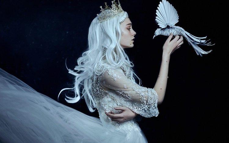style, girl, mood, background, dress, bird, hands, crown, dark, princess, blue hair