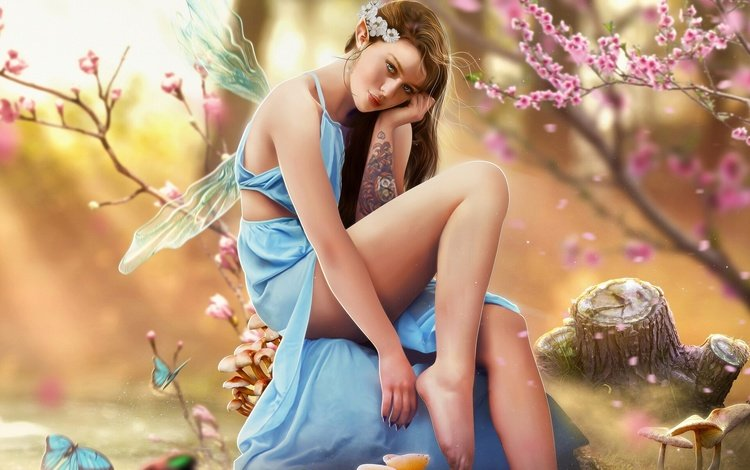 арт, hosne qanadelo, стиль, девушка, фантастика, фея, тату, татуировка, красивая, фантазии, fantasy, art, style, girl, fiction, fairy, tattoo, beautiful