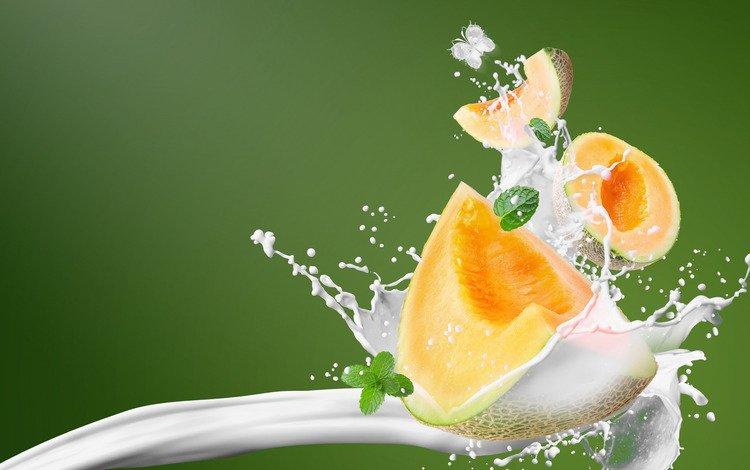 фон, брызги, всплеск, молоко, дыня, background, squirt, splash, milk, melon