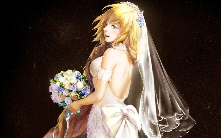 butterfly, anime, purple eyes, bouquet, bride, bare back, long hair, face, blonde, wedding dress, artwork, flower, digital art, bare shoulders, girl, anime girl