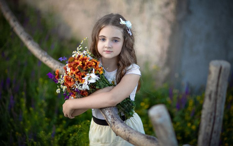 flowers, nature, pose, branches, girl, bouquet, curls, rus