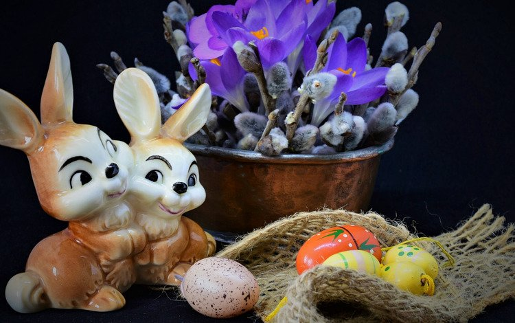 flowers, branches, fabric, easter, eggs, holiday, rabbits, still life, crocuses, verba, figure, burlap, taz