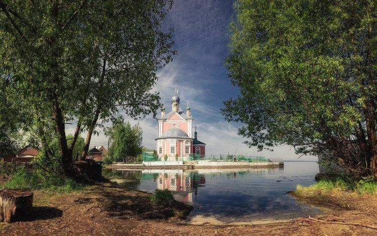 деревья, природа, пейзаж, лето, дома, церковь, пень, переславль-залесский, trees, nature, landscape, summer, home, church, stump, pereslavl-zalesskiy