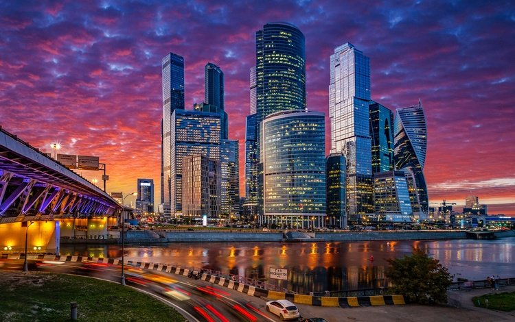 road, river, moscow, bridge, skyscrapers, night city, russia, building, the moscow river, moscow-city
