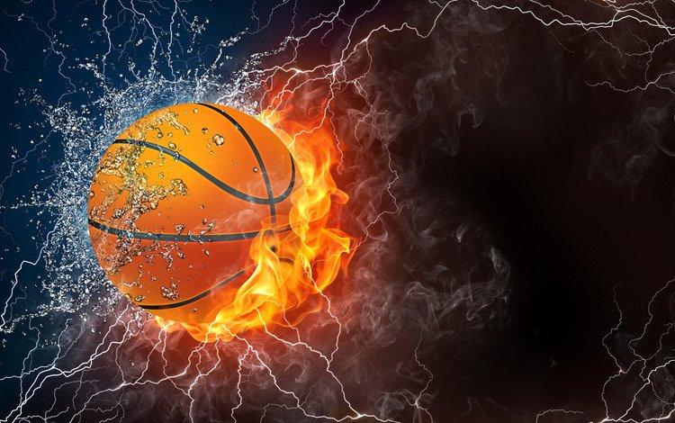 light, water, lightning, fire, darkness, the ball, abstraction, basketball