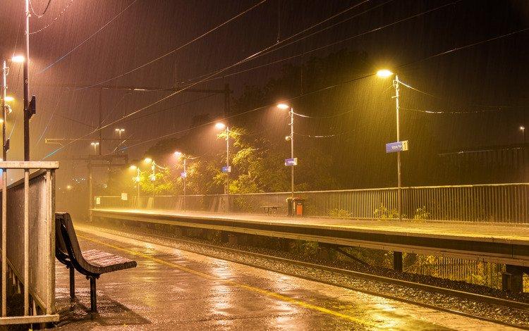 ночь, перрон, фонари, мельбурн, огни, железная дорога, рельсы, провода, скамейки, дождь, австралия, australia, night, the platform, lights, melbourne, railroad, rails, wire, benches, rain