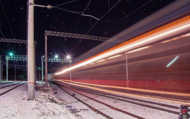 ночь, огни, железная дорога, провода, звезды, поезд, night, lights, railroad, wire, stars, train