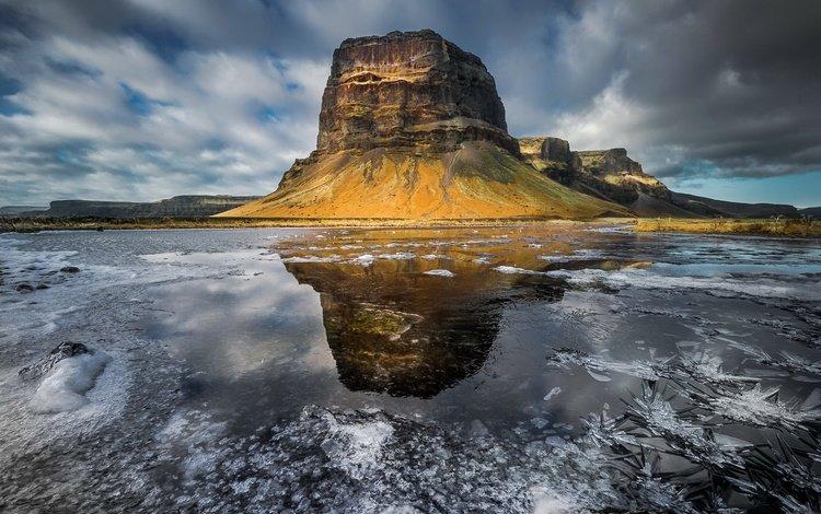 природа, исландия, ландшафт, mountain lómagnúpur, nature, iceland, landscape