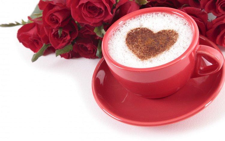 roses, heart, holiday, valentine's day, capuchino