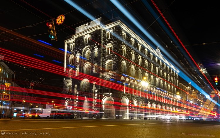light, night city, russia, the building, saint petersburg, nevsky prospekt