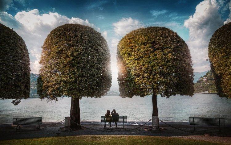 lake, park, bench, lake como