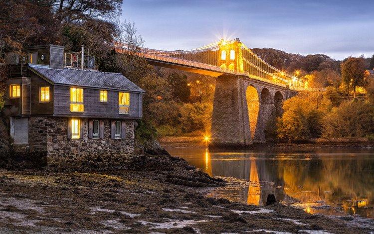 trees, bridge, house, england, strait, wales, menai bridge, the menai strait, menai strait