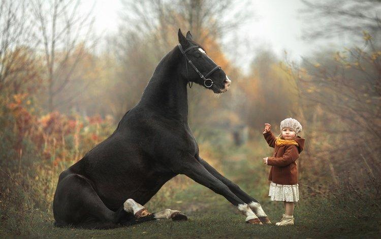 лошадь, девочка, малышка, дрессура, horse, girl, baby, taming