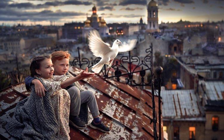 temple, the city, the world, girl, bird, church, boy, roof, dove