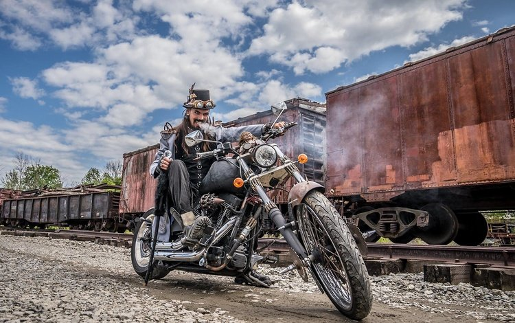 мотоцикл, мужик, байк, вагоны, motorcycle, man, bike, cars