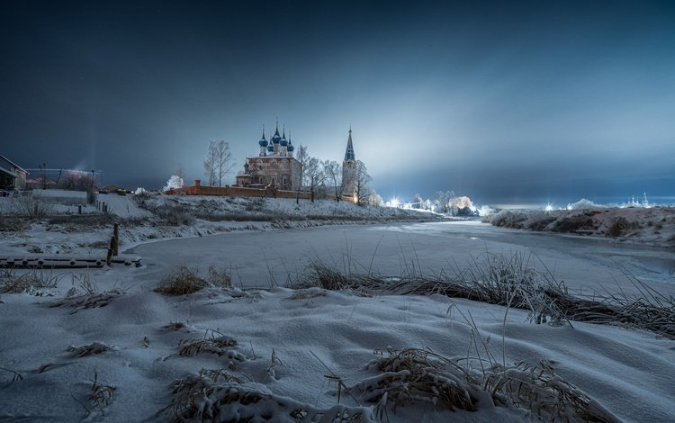 river, snow, nature, winter, landscape, morning, cathedral, dawn, the monastery, village, dunilovo