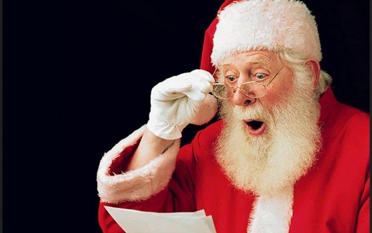 glasses, santa claus, letter, shock