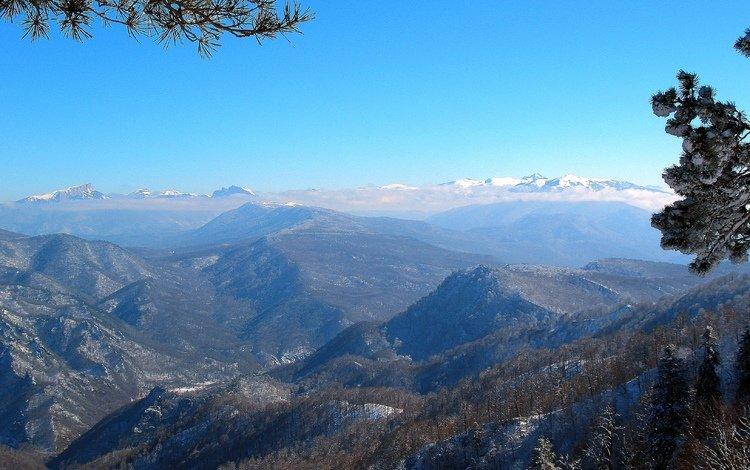 mountains, winter, the caucasus, lago-naki