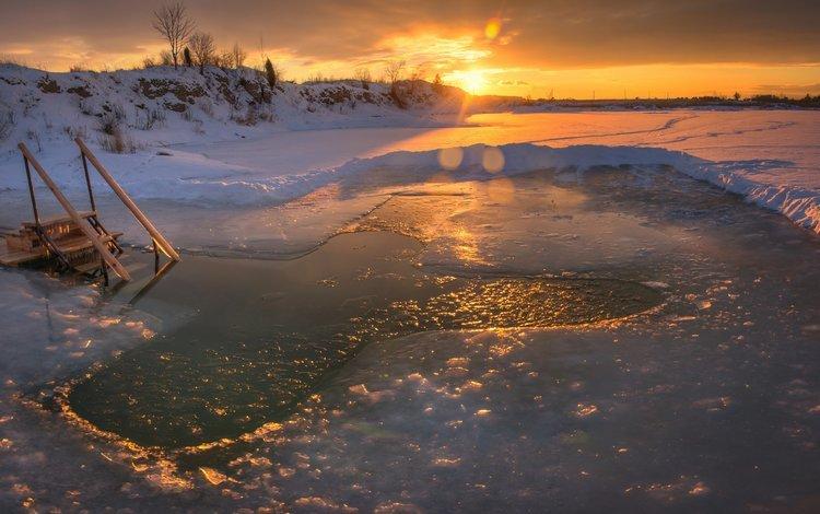 snow, sunset, winter, ice, cross, the hole, baptism