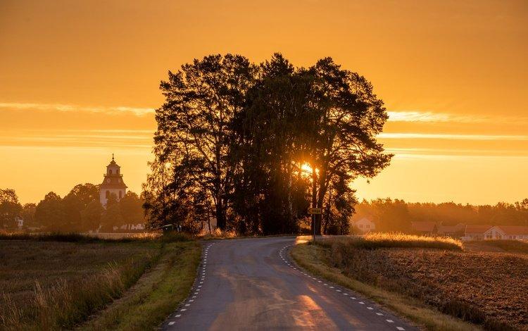 швеции, östergötland, road to church, stora vänge, sweden