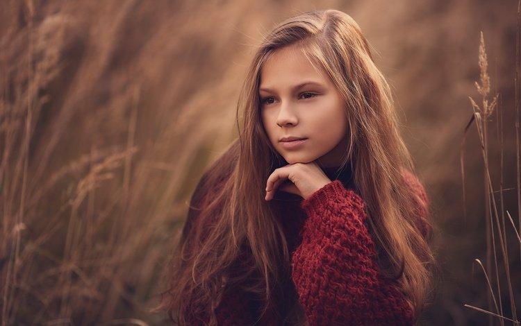 grass, nature, mood, pose, look, girl, sweater, teen