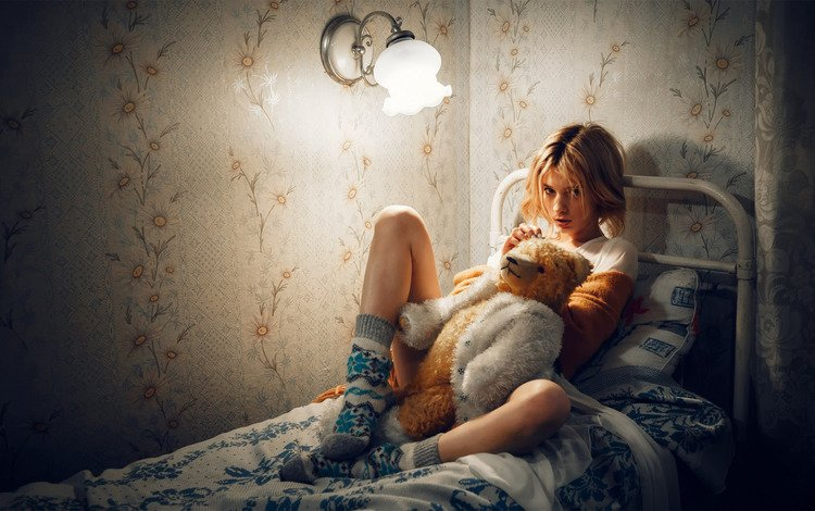 pose, look, bear, girl, legs, bed, on the bed