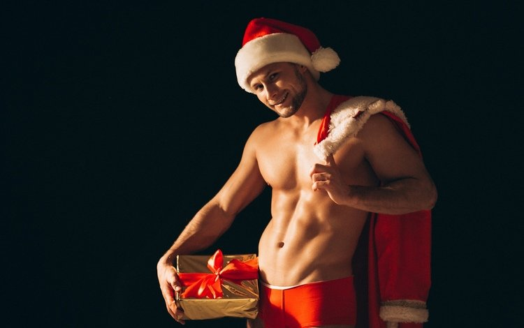 new year, gifts, santa claus, male, tape, sexy, press, happy new year, christmas