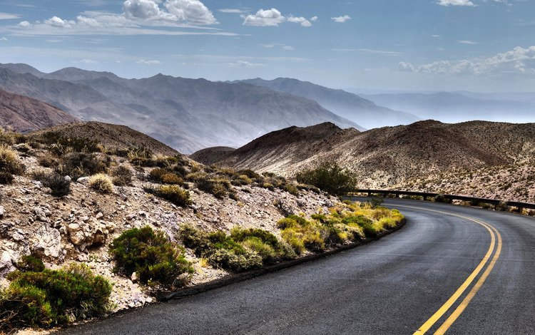 road, mountains, hills, nature, desert