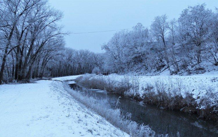 снег, зима, иней, речка, snow, winter, frost, river
