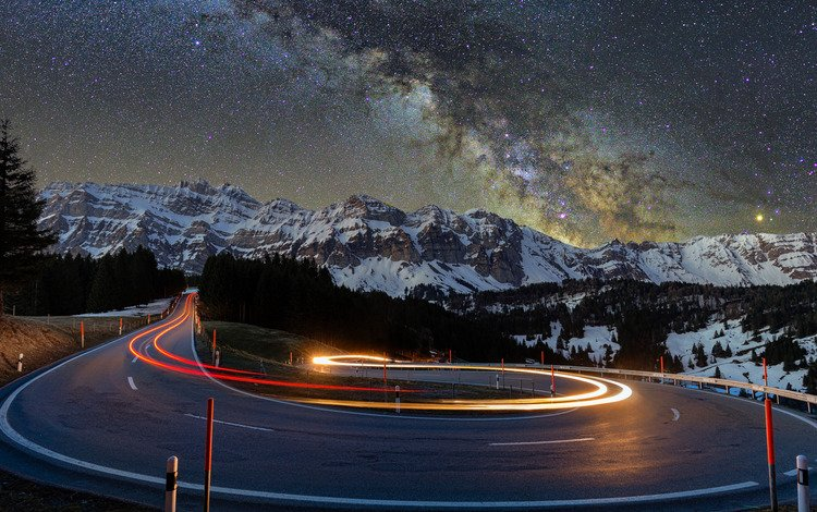road, night, trees, lights, mountains, snow, nature, landscapes, asphalt, starry night, blur effect, snowy, star, 4k ultra hd background, turns