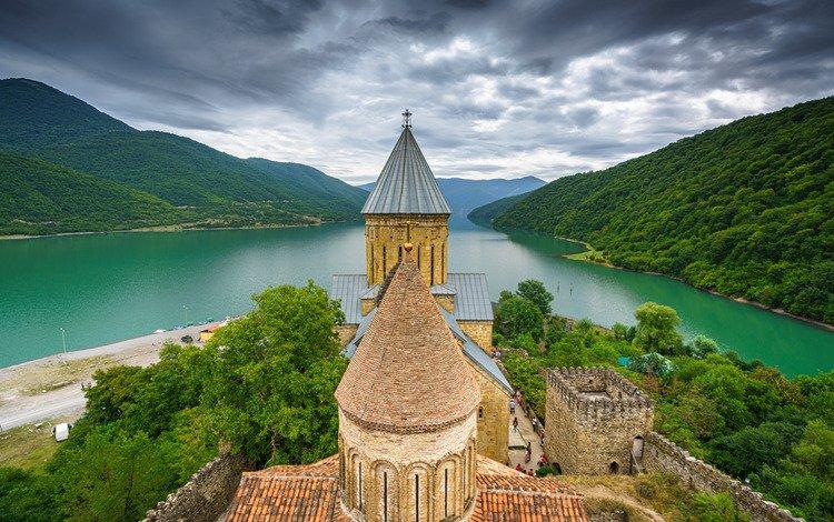 river, mountains, castle, fortress, georgia, ananuri, the river aragvi, ananuri fortress, aragvi river