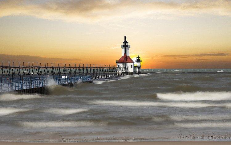 дорога, волны, маяк, проход, мичиган, saint joseph, road, wave, lighthouse, pass, michigan