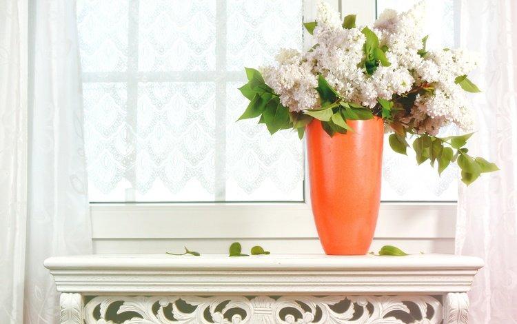 flowers, bouquet, window, vase, lilac