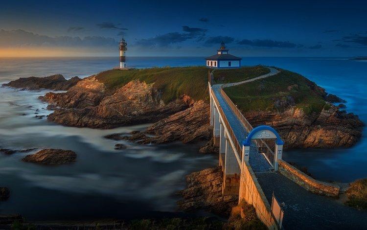 sea, lighthouse, bridge, island, coastline, galicia, isla pancha