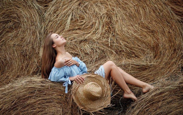 girl, mood, dress, pose, hay, summer, hat, stack, closed eyes