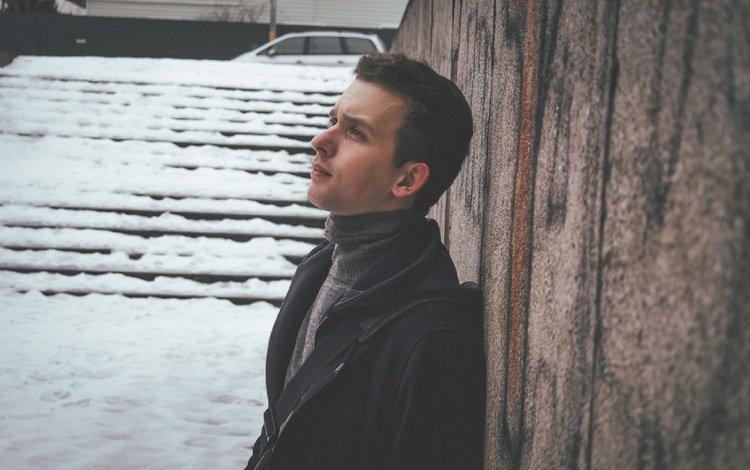 snow, winter, sadness, guy
