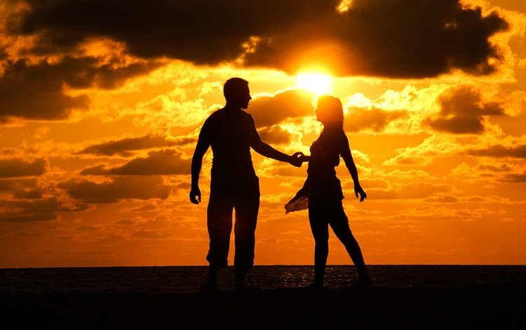 the sun, sunset, girl, guy, silhouette