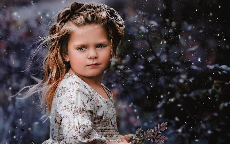 snow, mood, look, girl, sprig