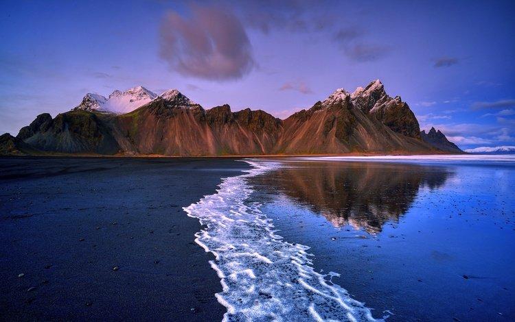 горы, природа, берег, море, пляж, побережье, исландия, mountains, nature, shore, sea, beach, coast, iceland