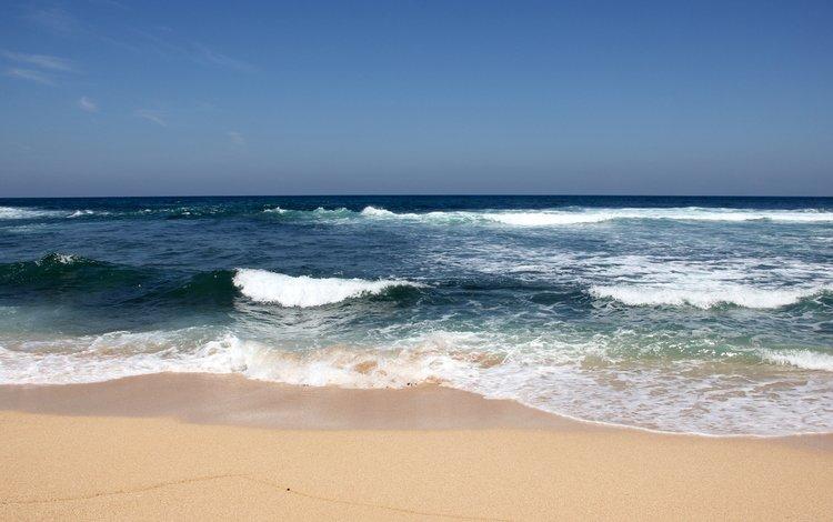 берег, волны, море, песок, пляж, горизонт, shore, wave, sea, sand, beach, horizon