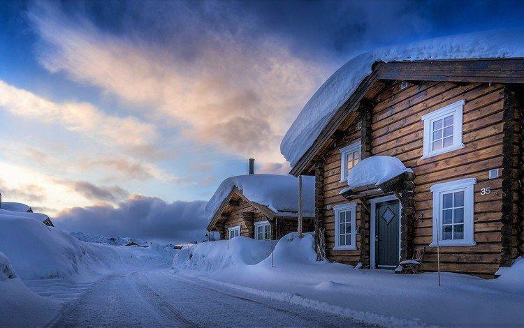 дорога, снег, зима, дома, норвегия, hovden, agder, road, snow, winter, home, norway